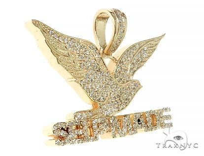 14K Yellow Gold Prong Diamond FreeBird Self Made Charm Pendant 63091 Metal