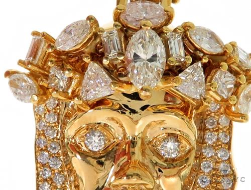 14K Yellow Gold Prong Diamond Jesus Pendant 57217 Metal