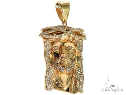 14K Yellow Gold Prong Diamond Jesus Piece 63093 Metal