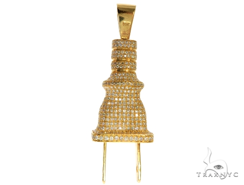 14K Yellow Gold Prong Diamond Plug Pendant Metal