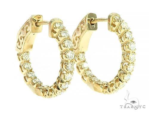 14K Yellow Gold Prong Diamond Small Hoop Earring 65770 Style