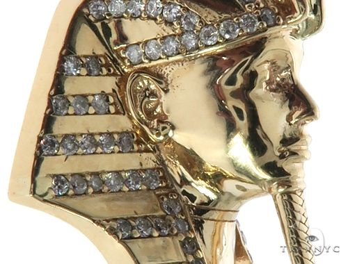 14K Yellow Gold Prong Diamond Small Pharaoh King Tut Charm Pendant 63729 Metal