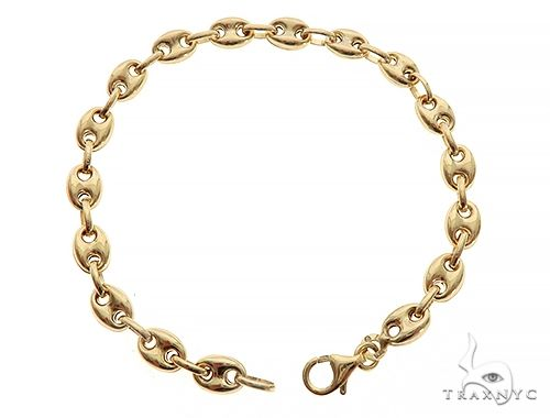 14K Yellow Gold Puffed Gucci Link Bracelet 8.0 Inches 7mm 9.0 Grams 65736 Gold