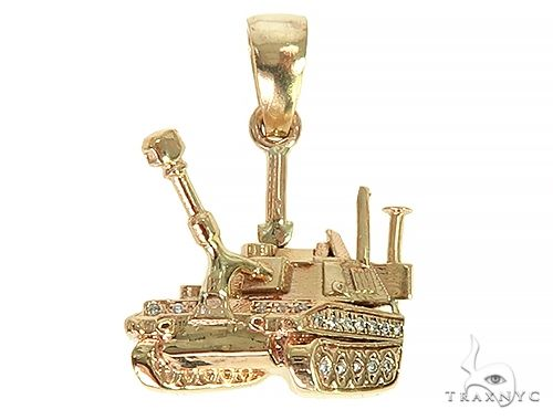 14K Yellow Gold Small Battle Tank Pendant 66028 Metal