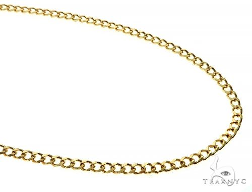 14K Yellow Gold Solid Thin Curb Link Chain 24 Inches 3mm 12.0 Grams 65979 Gold