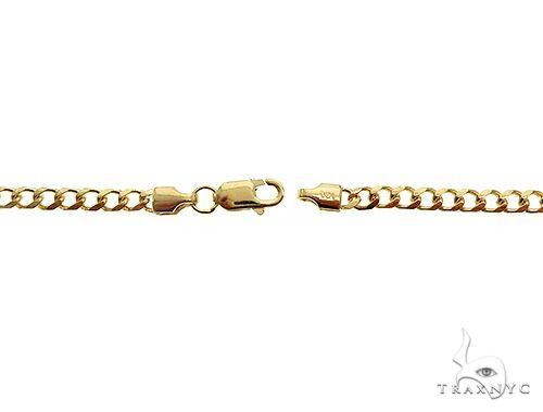 14K Yellow Gold Solid Thin Curb Link Chain 26 Inches 3mm 12.8 Grams 65980 Gold
