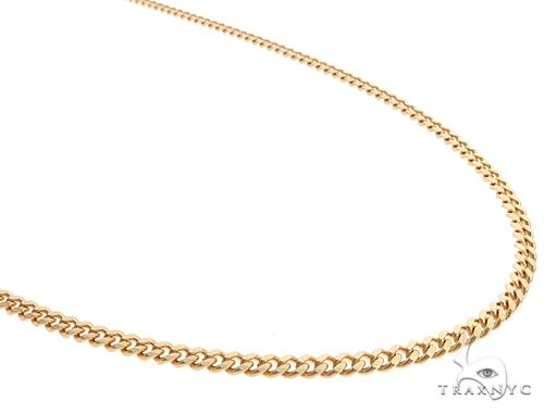14K Yellow Gold Solid Thin Miami Cuban Link Chain 24 Inches 3mm 19.7 Grams 65185 Gold