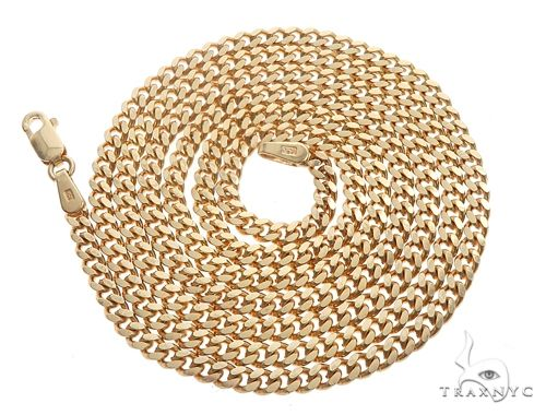 14K Yellow Gold Solid Thin Miami Cuban Link Chain 26 Inches 3mm 19.5 Grams Gold
