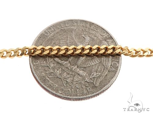 14K Yellow Gold Solid Thin Miami Cuban Link Chain 28 Inches 3mm 20.5 Grams 65901 Gold