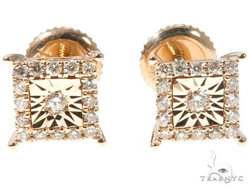 14K Yellow Gold Square Head Diamond Stud Earrings 64534 10k, 14k, 18k Gold Earrings