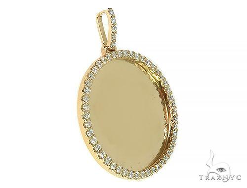 14K Yellow Gold Sweet Memories Collection Large Diamond Photo Pendant 66283 Style