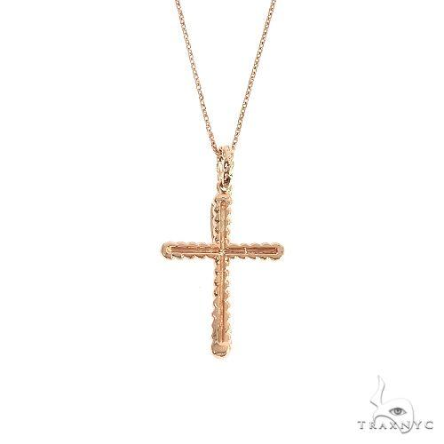 14K Gold Twisted  Diamond Rope Cross Pendant Set 66615 Diamond