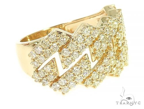 14K Yellow Gold Two Row Diamond Cuban Link Ring 65970 Stone