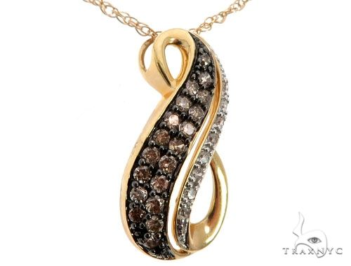 14K Yellow Gold White and Chocolate Diamond Pendant 64636 Stone