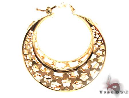 14K Gold Moon Hoop Earrings 31349 Metal