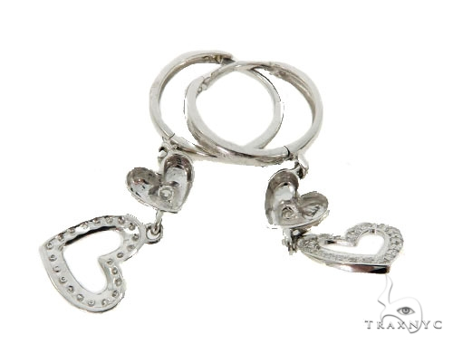 14KW Heart Hoop Earrings 57313 Stone