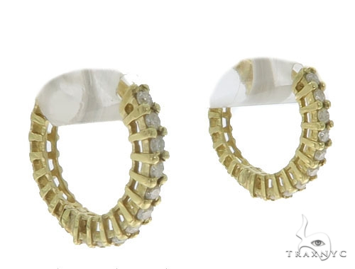 14KY Prong Diamon Hoop Earrings 57310 Stone