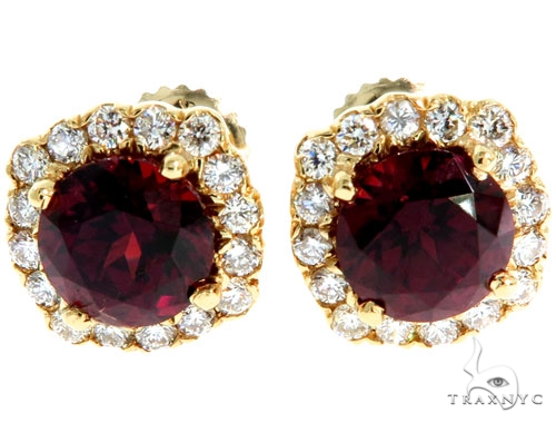 14KY Red Garnet Cluster Stud Earrings Stone