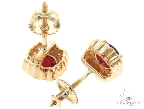 14KY Red Garnet Cluster Stud Earrings 57297 Stone