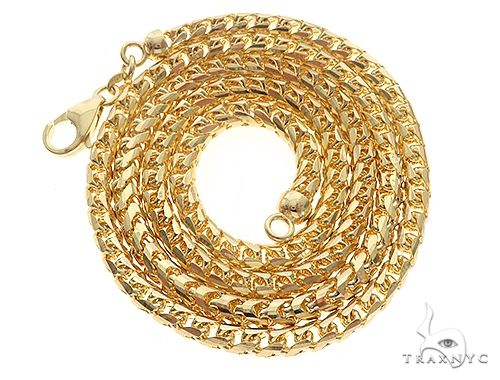 14KY Solid Franco Link Chain 24 Inches 4mm 50 Grams 57288 Gold