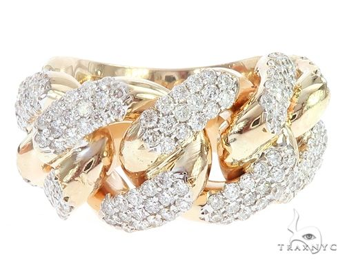 14k Yellow Gold 15mm Diamond Miami Cuban Ring 65016 Stone