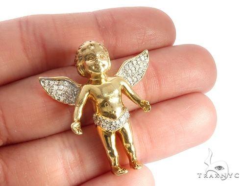 14k Gold Diamond Angel Pendant 64998 Metal