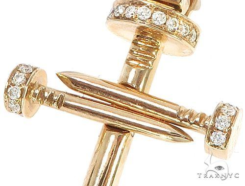 14k Gold Diamond Nail Cross Pendant 64988 Metal