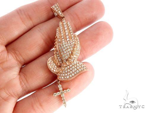 14k Gold Diamond Praying Hands with Rosary Pendant 64999 Metal