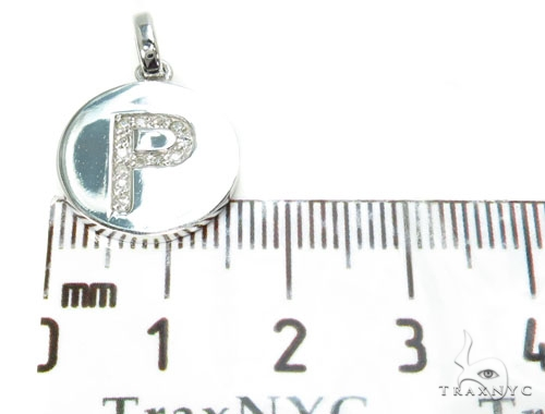 14k Gold Prong Diamond Initial P Pendant-39988 Style