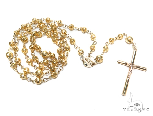 14k Gold Rosary Chain 28 Inches 5mm 20.9 Grams 43019 Gold