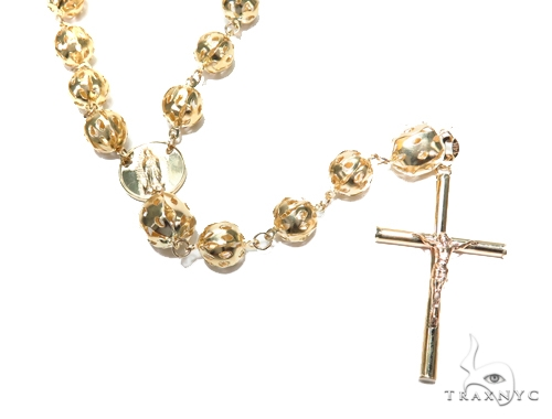 14k Gold Rosary Chain 30 Inches 8mm 40.3 Grams 43017 Gold