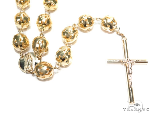14k Gold Rosary Chain 36 Inches 10mm 60.9 Grams 43015 Gold