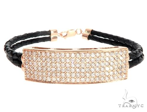 14k Rose Gold Diamond Leather Rope Bracelet 65036 Diamond