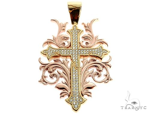 Black Ink Crew 14k Two Tone Diamond Filigree Cross Pendant 64746 Metal