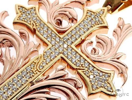 Black Ink Crew 14k Two Tone Diamond Filigree Cross Pendant 64746 Metal