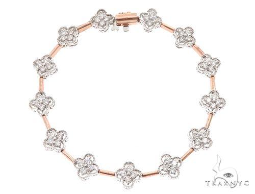 14k Two Tone Rose and White Gold Diamond Bracelet 65023 Diamond