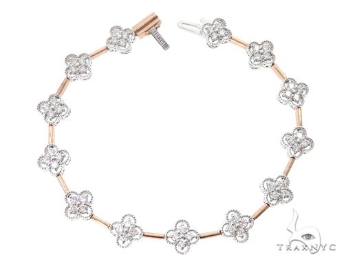 14k Two Tone Rose and White Gold Diamond Bracelet 65023 Diamond