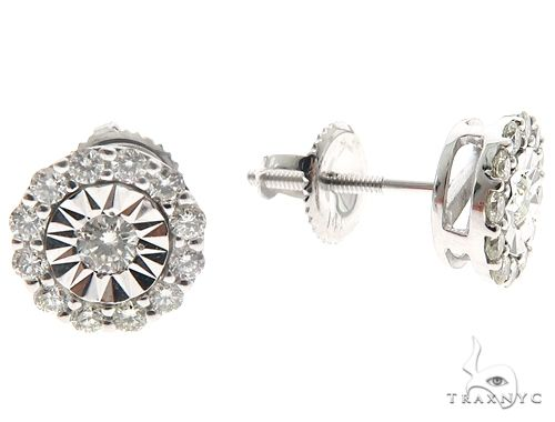14k WG Diamond Stud Earrings 64823 Stone