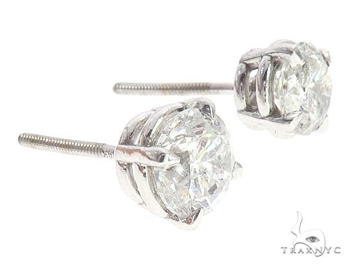 14k White Gold Diamond Stud Earrings 65048 Stone