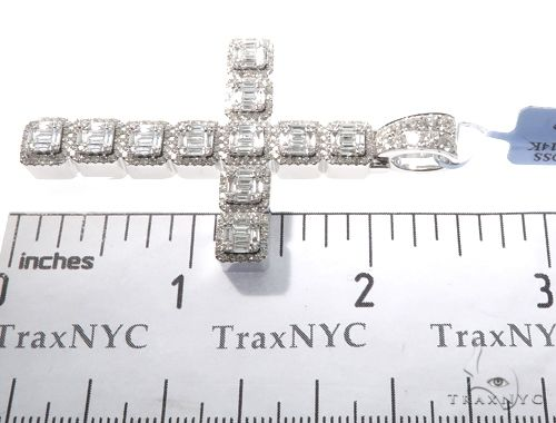 14k White Gold Baguette and Round Diamond Cross Pendant 64577 Diamond