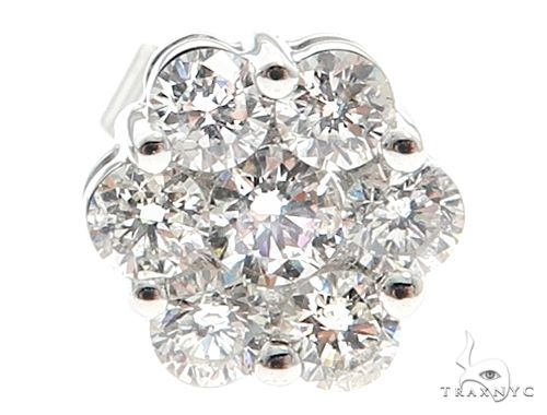 14k White Gold Diamond Cluster Studs 64899 Stone