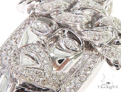 14k White Gold Diamond Cuban Link Crown Jesus Pendant 64916 Metal