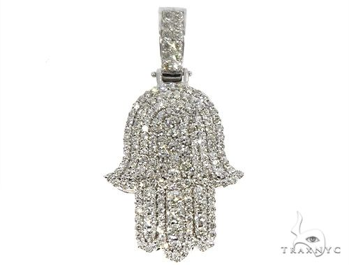 14k White Gold Diamond Hamsa Pendant 64634 Metal