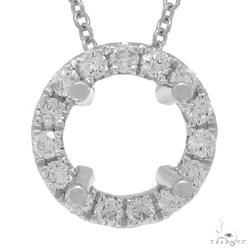14k White Gold Diamond Semi-mount Pendant Necklace Style