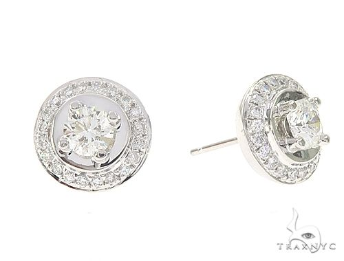 14k White Gold Diamond Stud Earrings 64943 Stone