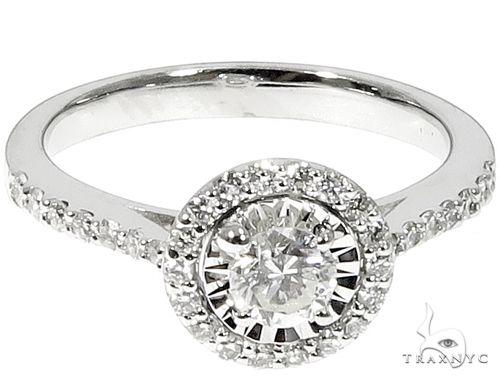 14k White Gold Round Halo Diamond Cut Ring 64572 Wedding