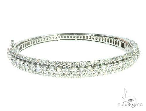 14k White Gold Three Row Diamond Fashion Bangle 65756 Diamond