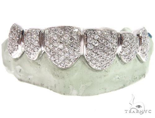14k White Gold Top Teeth Grillz 64720 Men Specials
