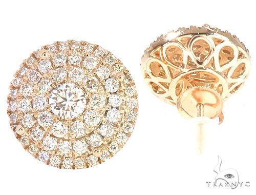 14k YG Diamond Cluster Stud Earrings 64837 Stone