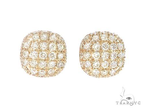 14k YG Diamond Cluster Stud Earrings 64839 Stone